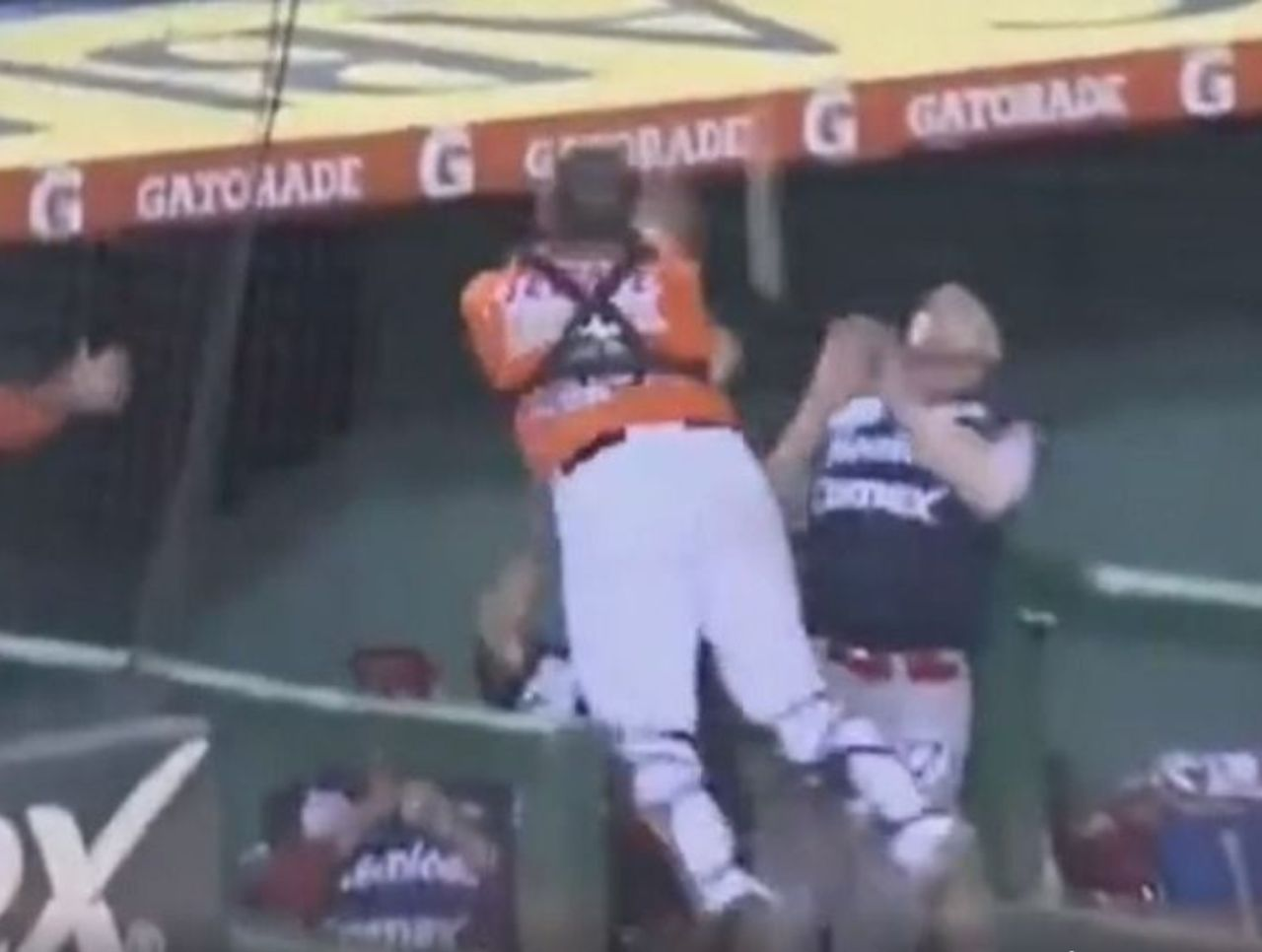 Cropped mexican league catcher