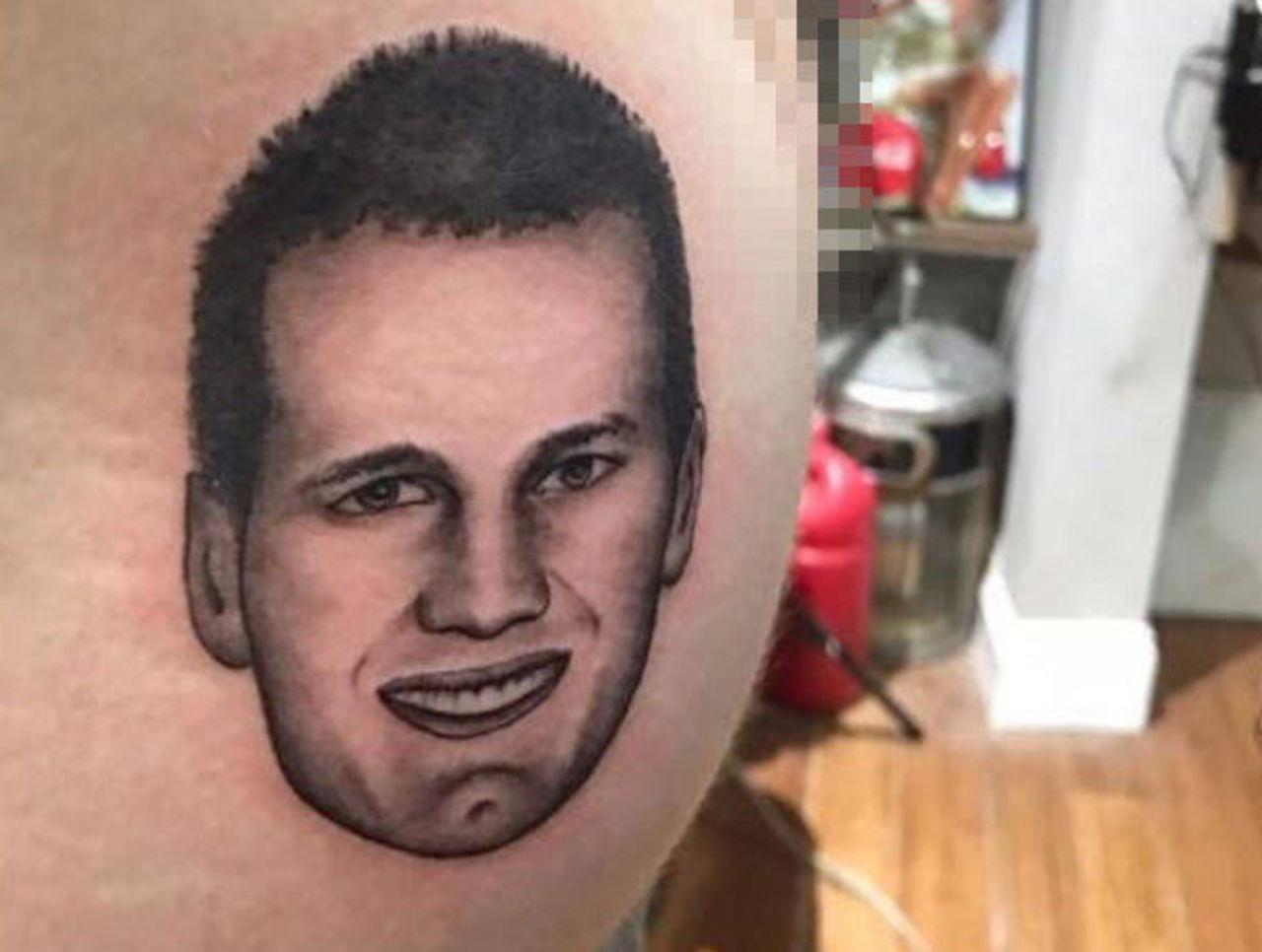 A patriots fan got tom brady 39 s face tattooed on his butt for Boston barber tattoo