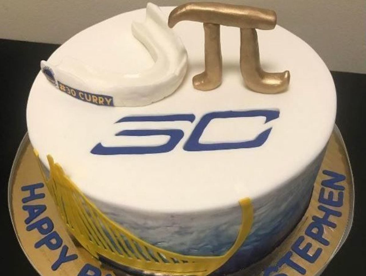Stephen Currys Birthday Cake Features Mouthguard Pi Symbol