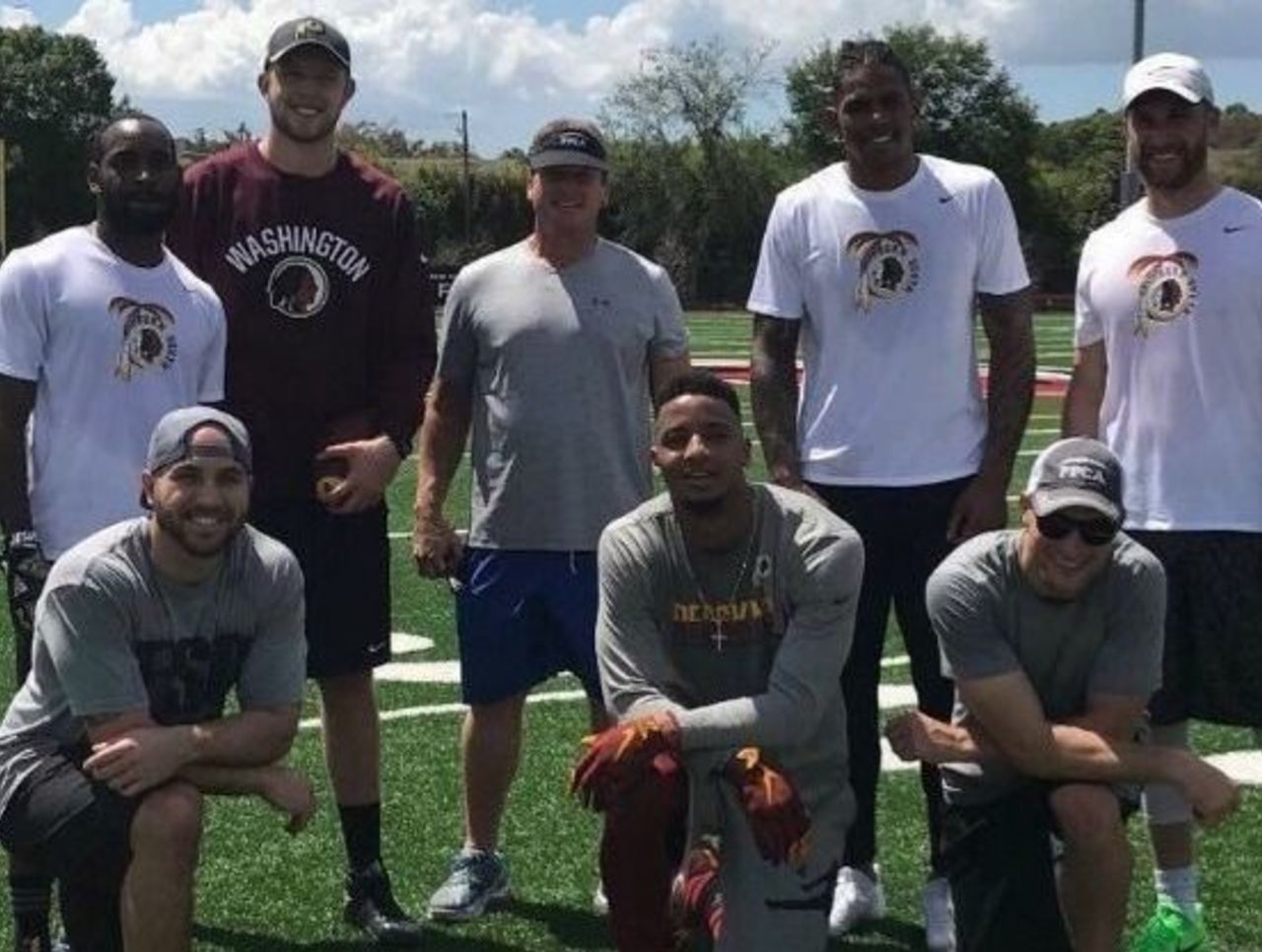Cropped redskins work out