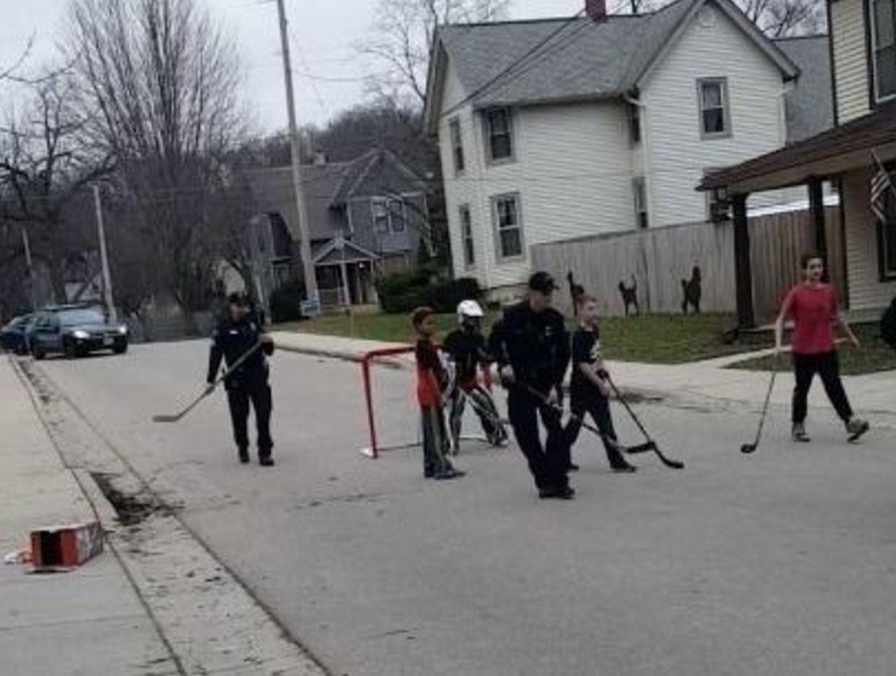 police called to stop kids street hockey game start