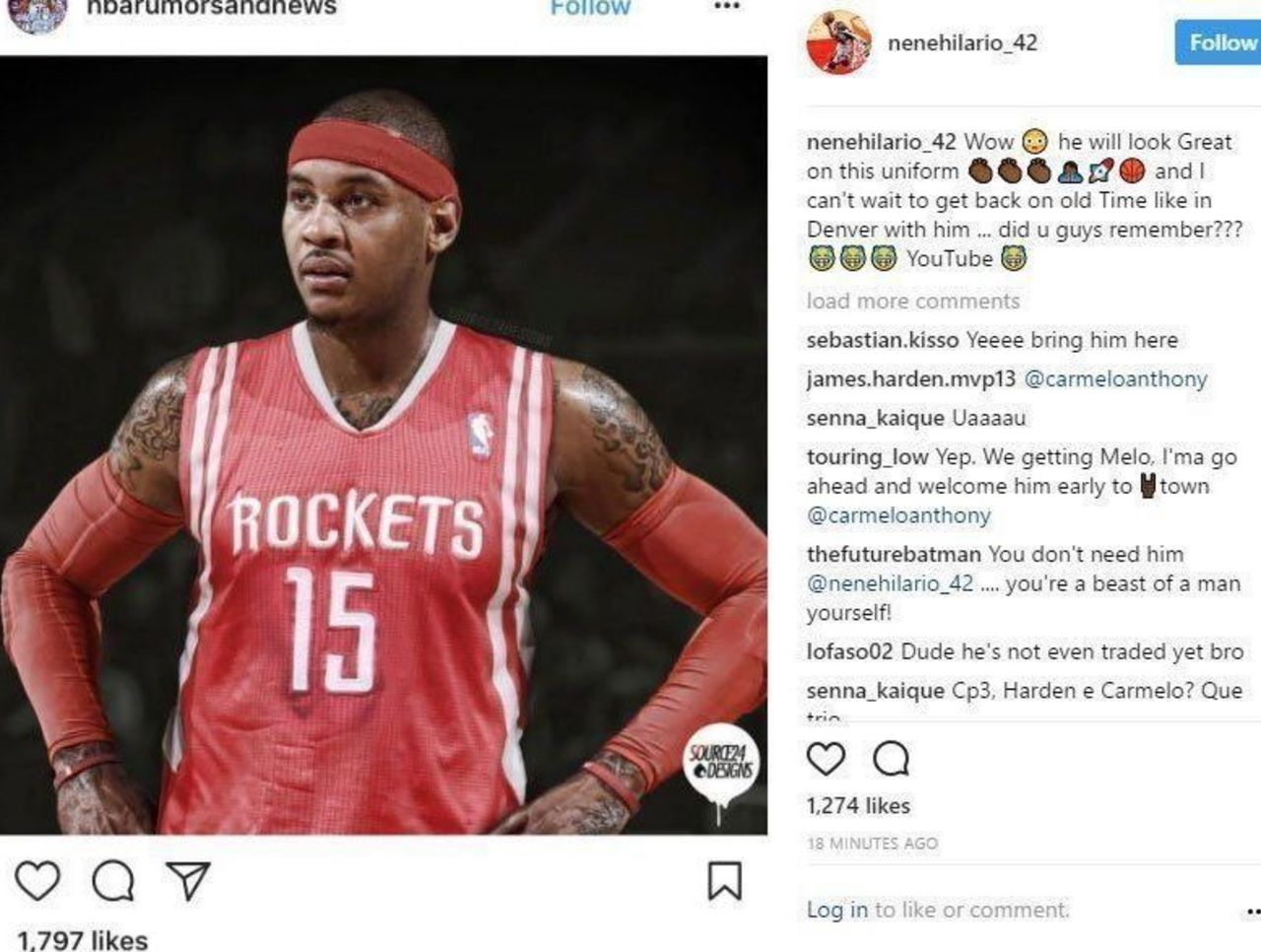 quality design d5aa7 dc4fd Nene took to Instagram to post a photo of Carmelo Anthony in ...