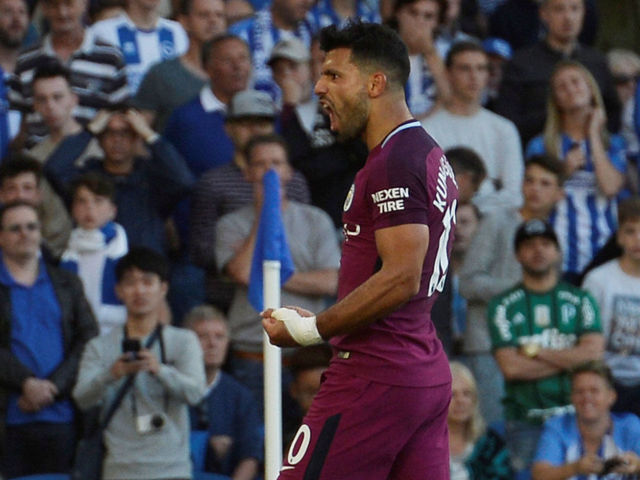 Aguero gets Manchester City up and running at Brighton