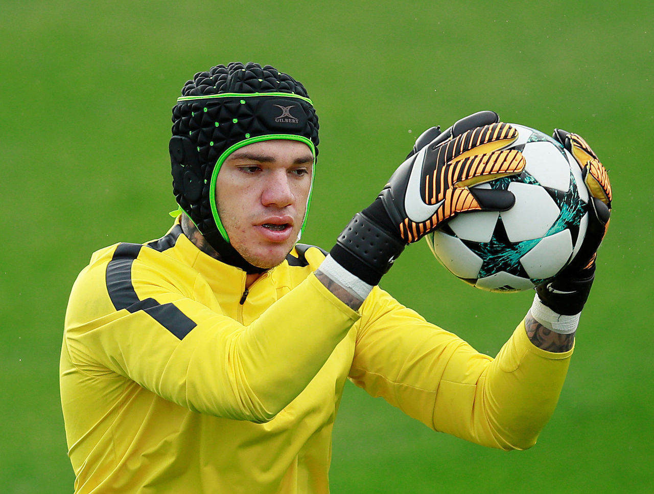 Ederson returns to Manchester City training with protective