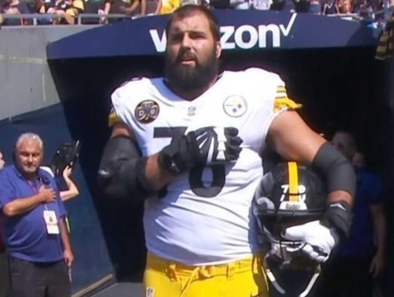 89495eb48 Look  Steelers  Villanueva stands solo outside tunnel for national anthem