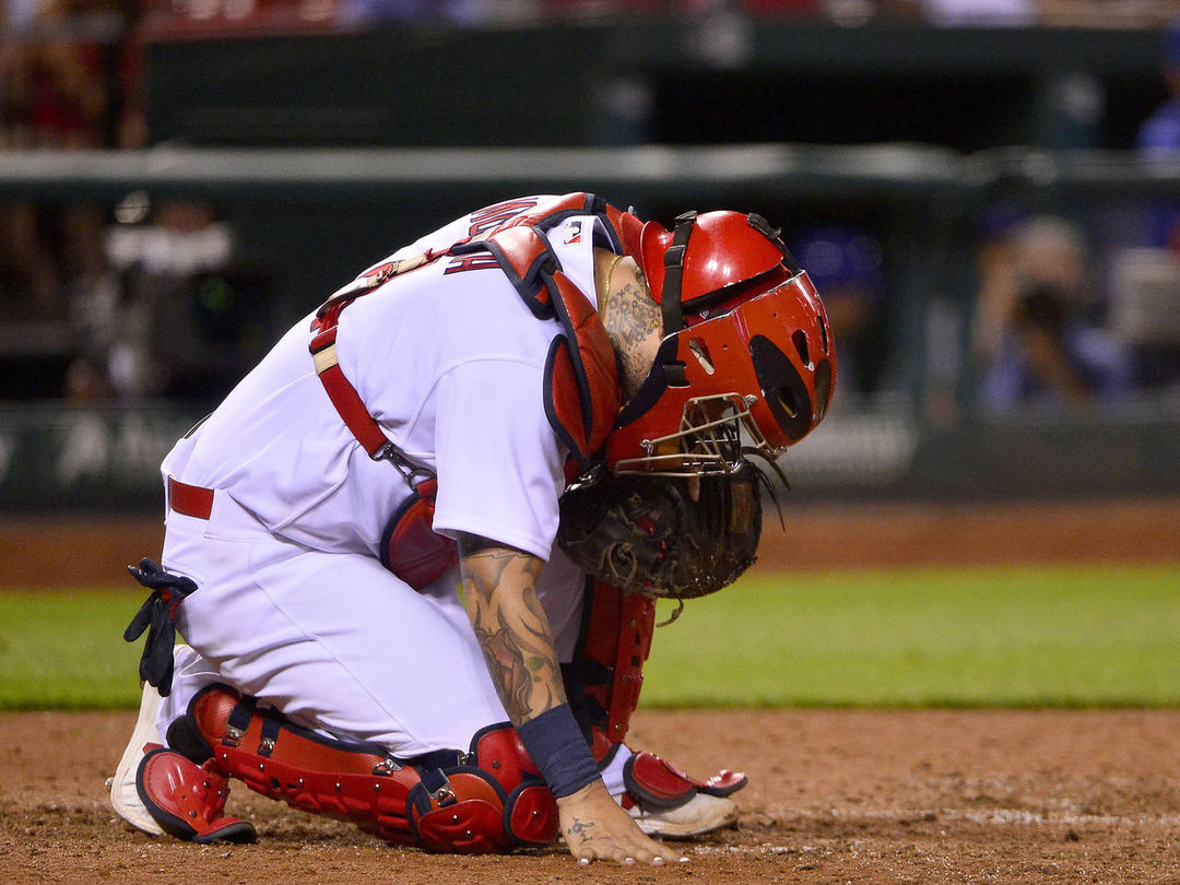 Molina in concussion protocol after taking 2 straight foul balls off mask