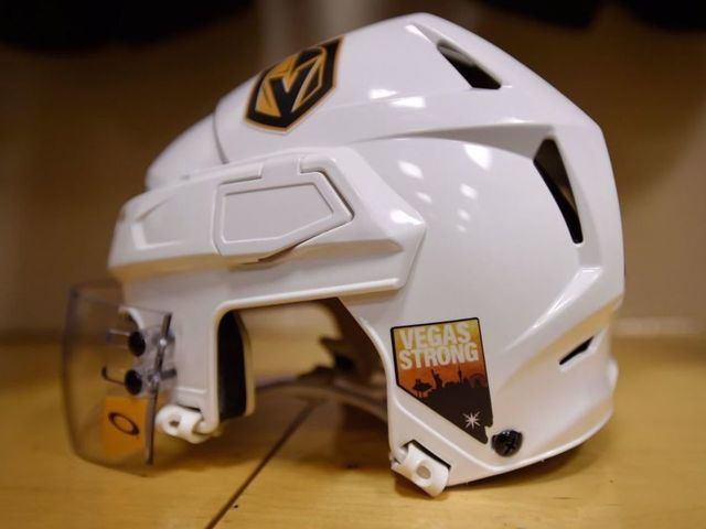 Look: Golden Knights, Stars add 'Vegas Strong' decal to helmets