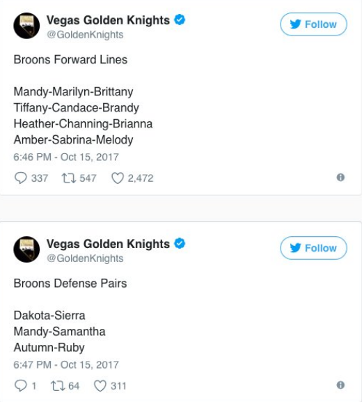Golden Knights Apologize For Tweets That Were 'in Poor Taste'
