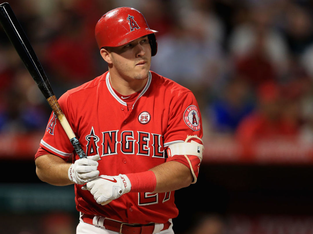 Trout to wear face guard after getting beaned Sunday