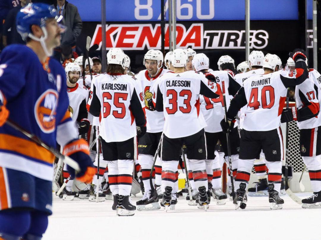 Senators snap 7-game losing skid, Islanders win streak in high-scoring affair