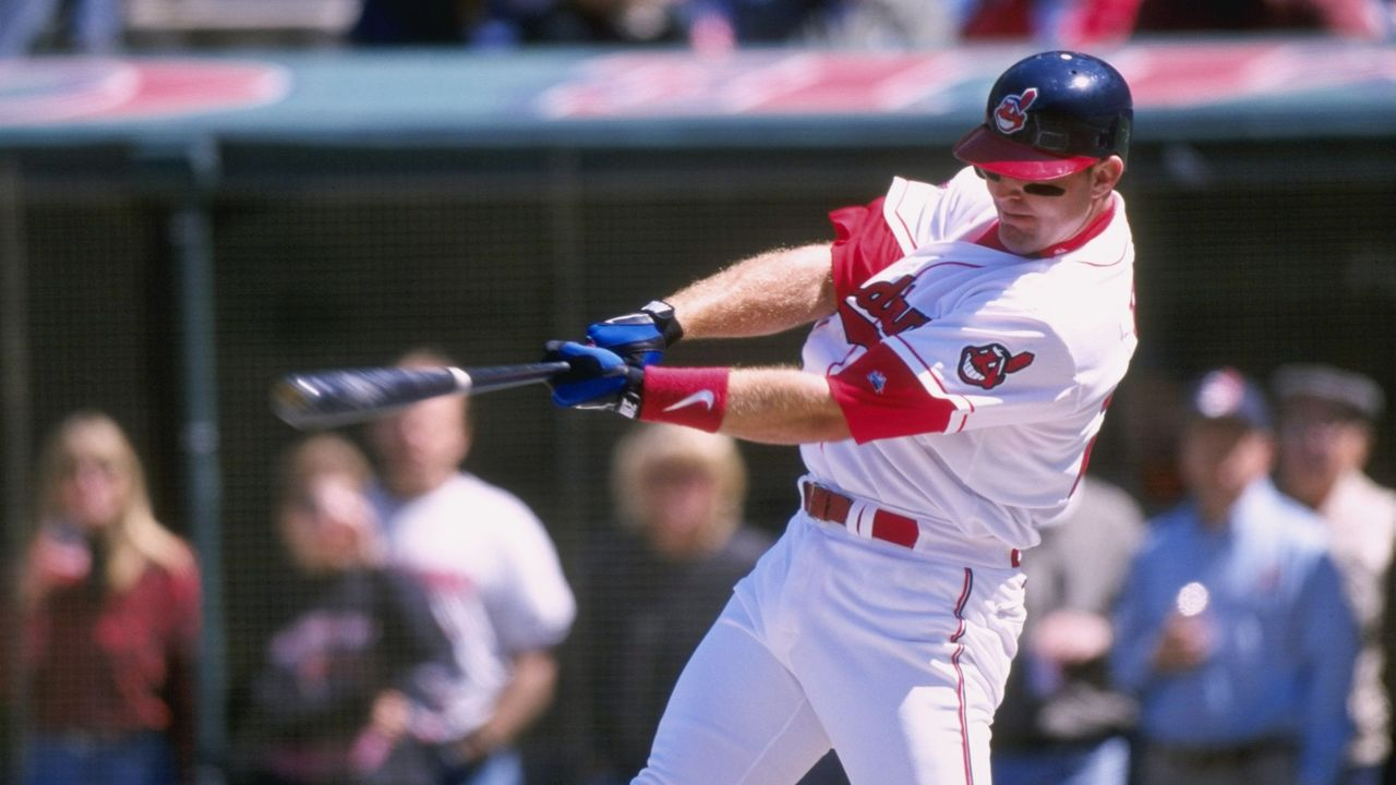 11 Apr 1998: Infielder Jim Thome of the Cleveland Indians in action during a game against the Anaheim Angels at Jacobs Field in Cleveland, Ohio. The Indians defeated the Angels 7-4. Mandatory Credit: Rick Stewart /Allsport