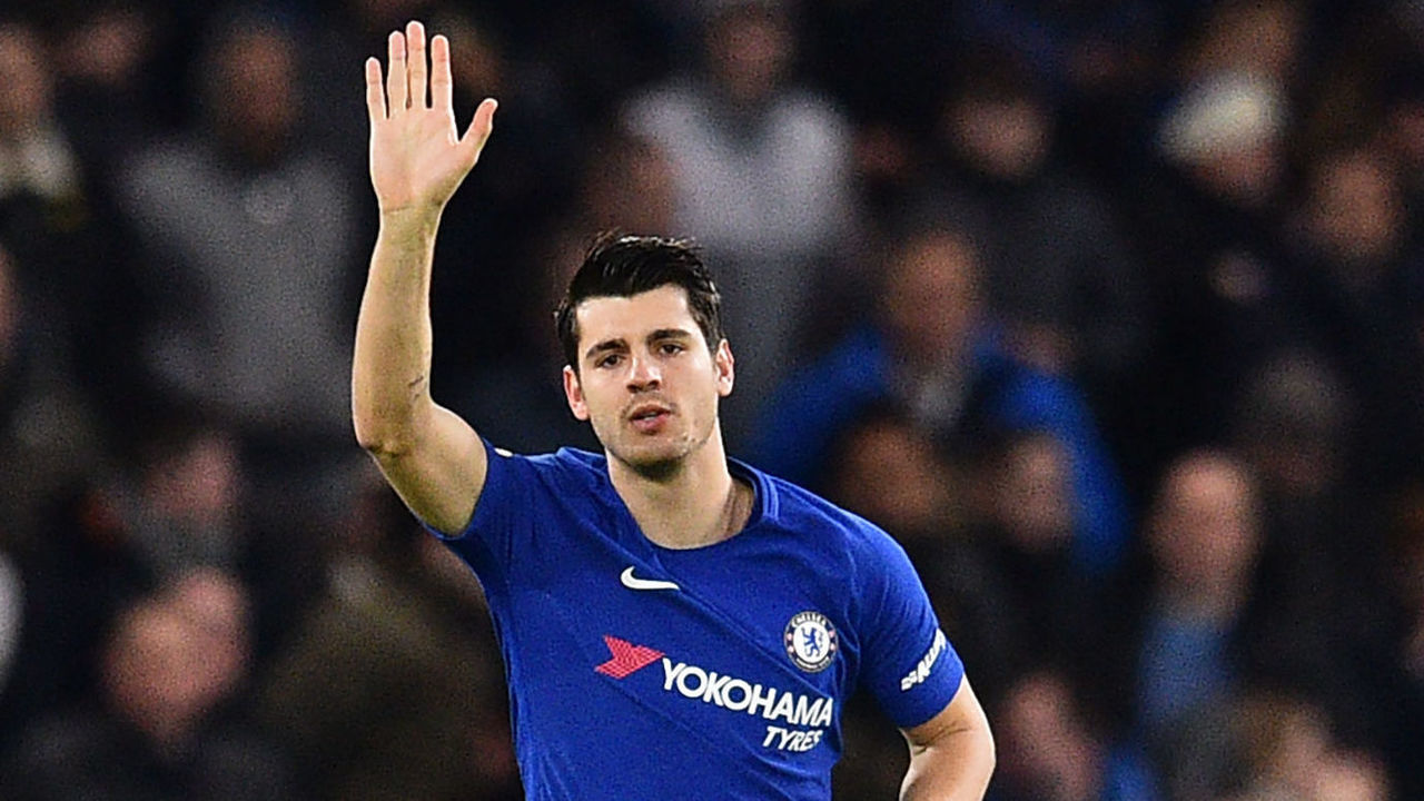 Chelsea's Spanish striker Alvaro Morata celebrates after scoring the opening goal of the English Premier League football match between Chelsea and Brighton and Hove Albion at Stamford Bridge in London on December 26, 2017. / AFP PHOTO / Glyn KIRK /