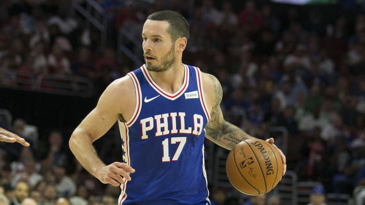 PHILADELPHIA, PA - OCTOBER 20: JJ Redick #17 of the Philadelphia 76ers dribbles the ball against the Boston Celtics at the Wells Fargo Center on October 20, 2017 in Philadelphia, Pennsylvania.