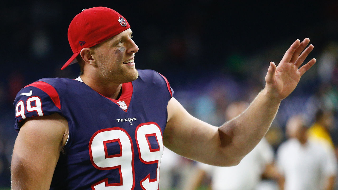 HOUSTON, TX - AUGUST 19: J.J. Watt #99 of the Houston Texans waves to fans as he leaves the field after the Houston Texans defeated the New England Patriots 27-23 at NRG Stadium on August 19, 2017 in Houston, Texas.
