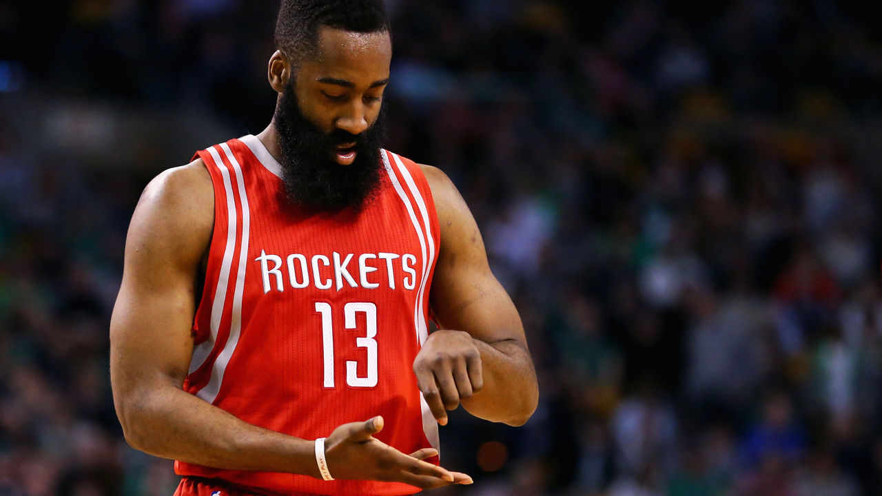 BOSTON, MA - MARCH 11: James Harden #13 of the Houston Rockets reacts after scoring against the Boston Celtics during the fourth quarter at TD Garden on March 11, 2016 in Boston, Massachusetts. The Rockets defeat the Celtics 102-98. NOTE TO USER: User expressly acknowledges and agrees that, by downloading and/or using this photograph, user is consenting to the terms and conditions of the Getty Images License Agreement.