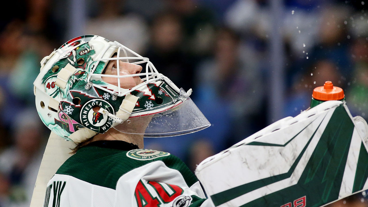 BUFFALO, NY - NOVEMBER 22: Devan Dubnyk #40 of the Minnesota Wild during the game against the Buffalo Sabres at the KeyBank Center on November 22, 2017 in Buffalo, New York.