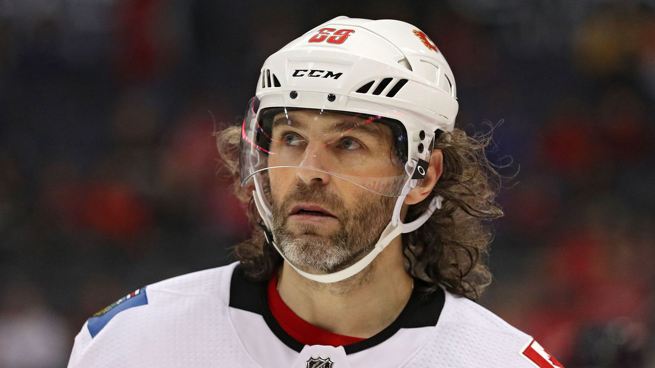 WASHINGTON, DC - NOVEMBER 20: Jaromir Jagr #68 of the Calgary Flames looks on against the Washington Capitals during the third period at Capital One Arena on November 20, 2017 in Washington, DC.