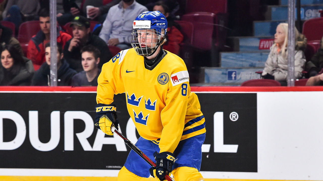 MONTREAL, QC - DECEMBER 31: Rasmus Dahlin #8 of Team Sweden skates during the 2017 IIHF World Junior Championship preliminary round game against Team Czech Republic at the Bell Centre on December 31, 2016 in Montreal, Quebec, Canada. Team Sweden defeated Team Czech Republic 5-2.