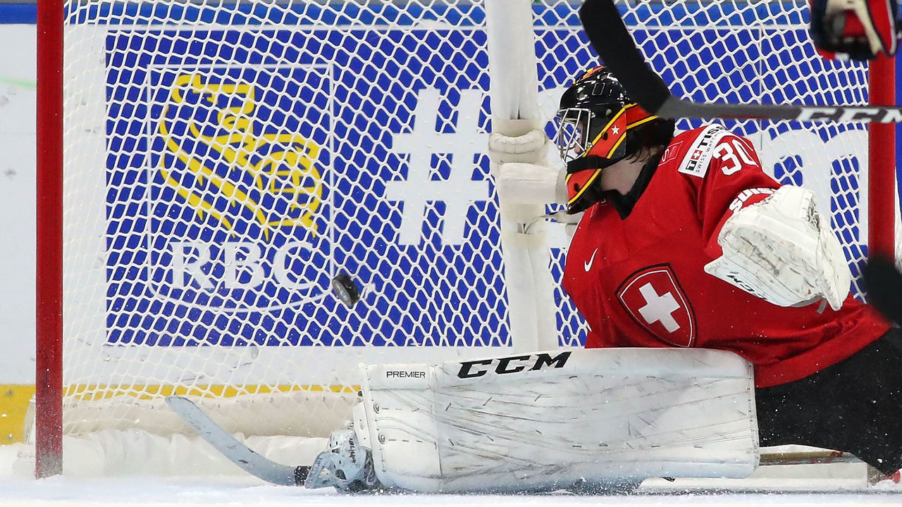 BUFFALO, NY - DECEMBER 31: Philip Wthrich #30 of Switzerland looks back into the net after a goal by Kristian Reichel #22 of Czech Republic in the third period during the IIHF World Junior Championship at KeyBank Center on December 31, 2017 in Buffalo, New York. The Czech Republic beat Switzerland 6-3.