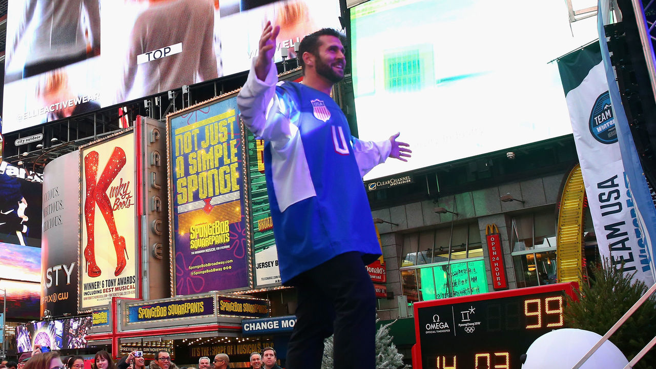 NEW YORK, NY - NOVEMBER 01: Ice hockey player Brian Gionta attends the 100 Days Out 2018 PyeongChang Winter Olympics Celebration - Team USA in Times Square on November 1, 2017 in New York City.