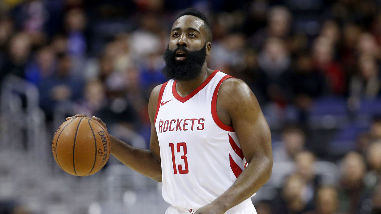 WASHINGTON, DC - DECEMBER 29: James Harden #13 of the Houston Rockets dribbles the ball against the Washington Wizards at Capital One Arena on December 29, 2017 in Washington, DC.