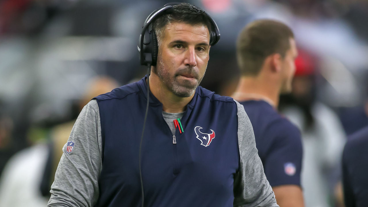 HOUSTON, TX - DECEMBER 25: Houston Texans defensive coordinator Mike Vrabel walks along the sidelines before the game between the Pittsburgh Steelers and Houston Texans on December 25, 2017 at NRG Stadium at Houston, Texas.