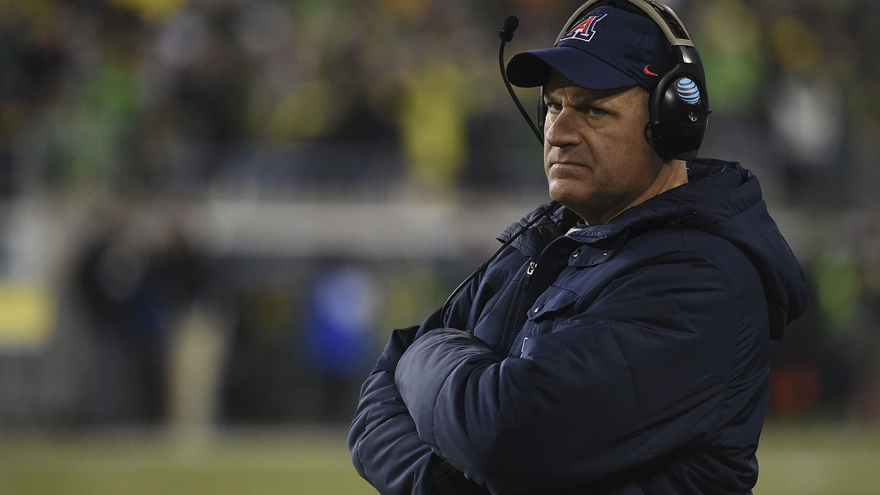 EUGENE, OR - NOVEMBER 18: Head coach Rich Rodriguez of the Arizona Wildcats looks on from the sidelines during the second half of the game against the Oregon Ducks at Autzen Stadium on November 18, 2017 in Eugene, Oregon. The Ducks won the game 48-28.