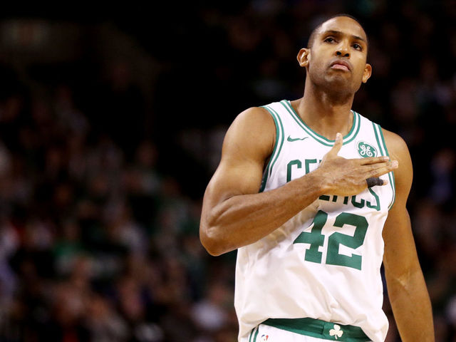 BOSTON, MA - NOVEMBER 30: Al Horford #42 of the Boston Celtics celebrates after hitting a three point shot against the Philadelphia 76ers during the fourth quarter at TD Garden on November 30, 2017 in Boston, Massachusetts. The Celtics defeat the 76ers 108-97.