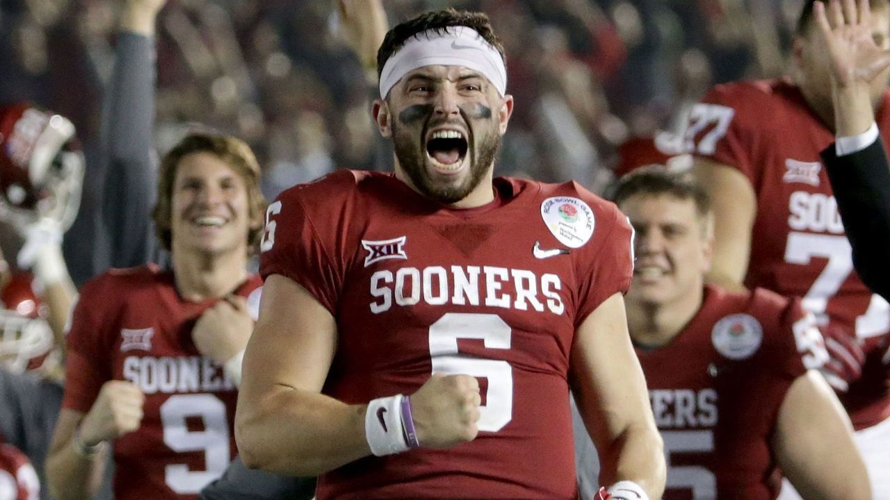 PASADENA, CA - JANUARY 01: Baker Mayfield #6 of the Oklahoma Sooners celebrates after Steven Parker #10 of the Oklahoma Sooners scores a 46 yard touchdown because of a fumble by Sony Michel #1 of the Georgia Bulldogs in the 2018 College Football Playoff Semifinal at the Rose Bowl Game presented by Northwestern Mutual at the Rose Bowl on January 1, 2018 in Pasadena, California.