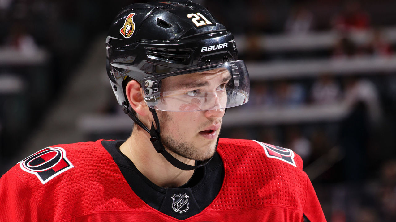 OTTAWA, ON - OCTOBER 5: Logan Brown #21 of the Ottawa Senators looks on during a game against the Washington Capitals at Canadian Tire Centre on October 5, 2017 in Ottawa, Ontario, Canada.