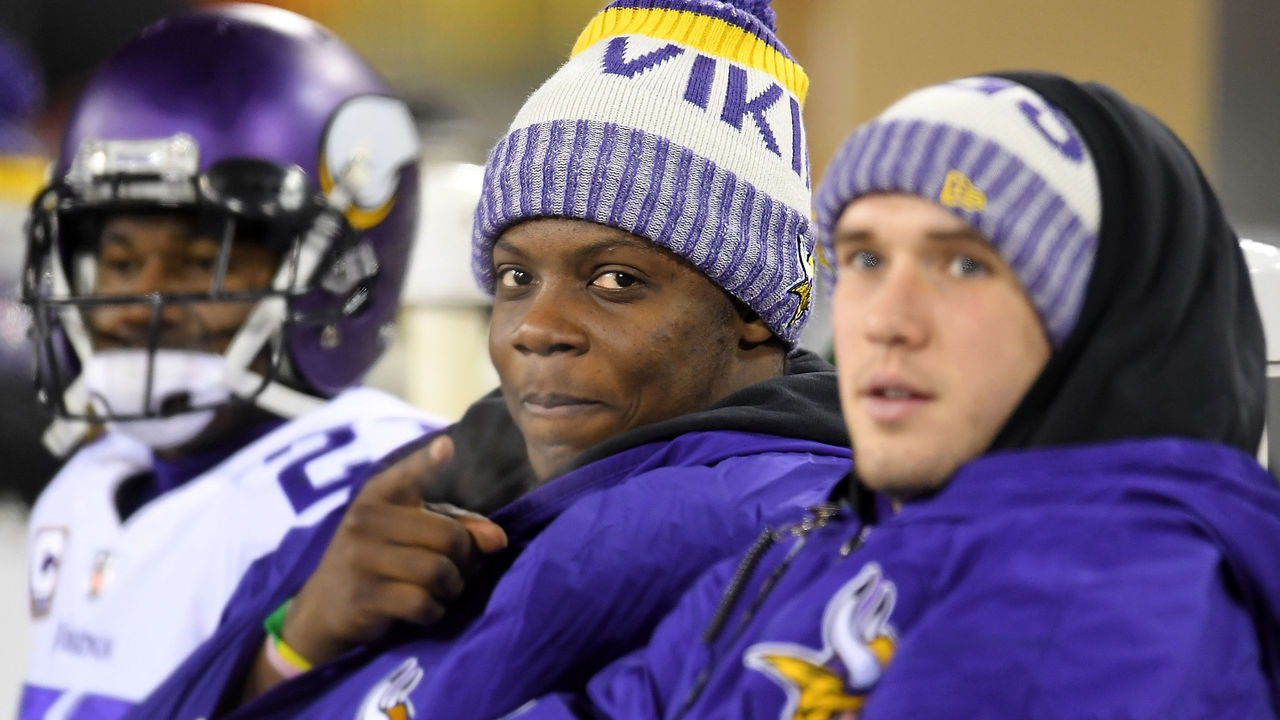 GREEN BAY, WI - DECEMBER 23: Teddy Bridgewater #5 of the Minnesota Vikings sits on the bench during the second half of a game against the Green Bay Packers at Lambeau Field on December 23, 2017 in Green Bay, Wisconsin. The Vikings won the game 16-0.