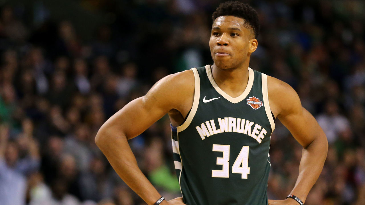 BOSTON, MA - DECEMBER 4: Giannis Antetokounmpo #34 of the Milwaukee Bucks looks on during the second half against the Boston Celtics at TD Garden on December 4, 2017 in Boston, Massachusetts. The Celtics defeat the Bucks 111-100.