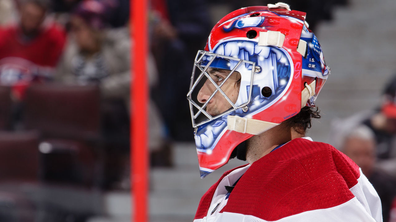 OTTAWA, ON - OCTOBER 30: Al Montoya #35 of the Montreal Canadiens looks on against the Ottawa Senators at Canadian Tire Centre on October 30, 2017 in Ottawa, Ontario, Canada.
