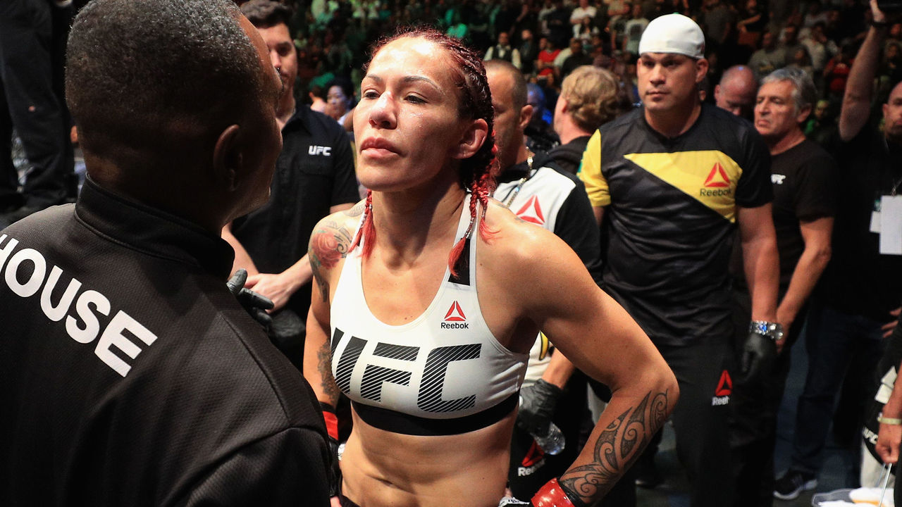 ANAHEIM, CA - JULY 29: Cris Cyborg of Brazil goes through inspection prior to a fight against Tonya Evinger during their Featherweight Title fight at UFC 214 at Honda Center on July 29, 2017 in Anaheim, California.