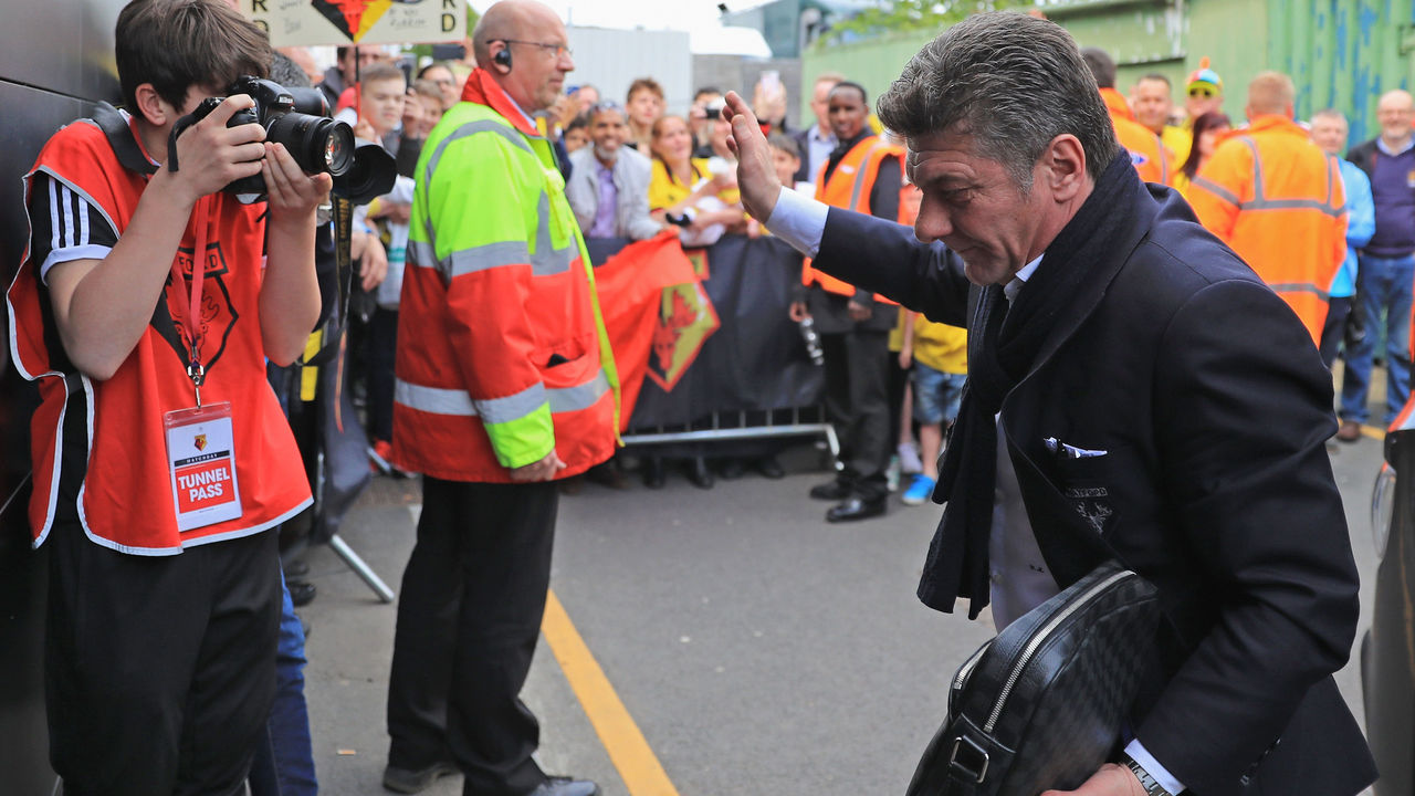 WATFORD, ENGLAND - MAY 21: Walter Mazzarri, Manager of Watord arrives at the stadium prior to the Premier League match between Watford and Manchester City at Vicarage Road on May 21, 2017 in Watford, England.