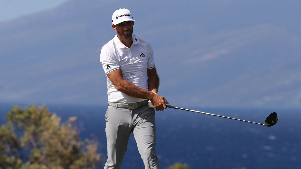 LAHAINA, HI - JANUARY 06: Dustin Johnson of the United States plays his shot from the 13th tee during the third round of the Sentry Tournament of Champions at Plantation Course at Kapalua Golf Club on January 6, 2018 in Lahaina, Hawaii.