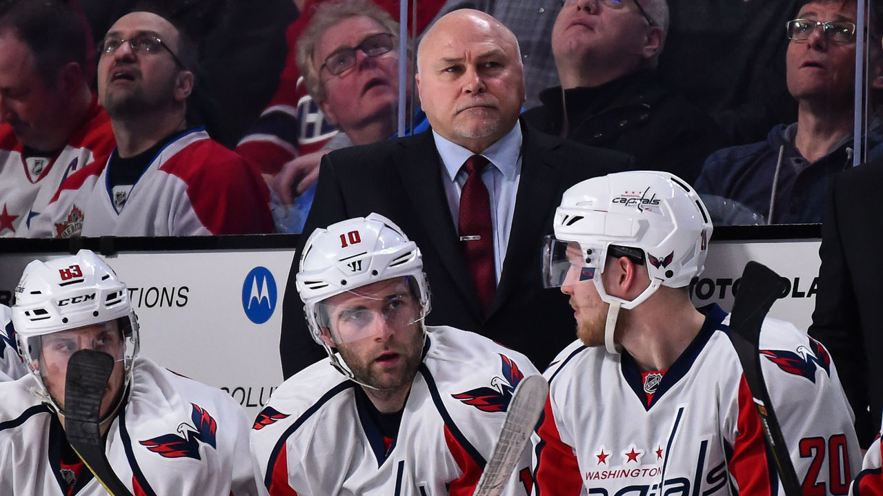 MONTREAL, QC - FEBRUARY 04: Head coach of the Washington Capitals Barry Trotz looks on during the NHL game against the Montreal Canadiens at the Bell Centre on February 4, 2017 in Montreal, Quebec, Canada. The Washington Capitals defeated the Montreal Canadiens 3-2.