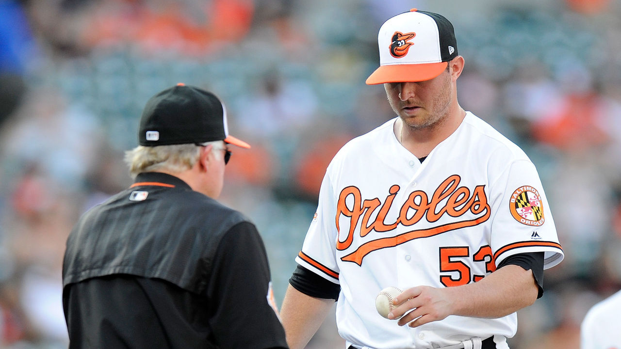 BALTIMORE, MD - AUGUST 23: Zach Britton #53 of the Baltimore Orioles is taken out of the game by manager Buck Showalter #26 in the ninth inning against the Oakland Athletics at Oriole Park at Camden Yards on August 23, 2017 in Baltimore, Maryland.
