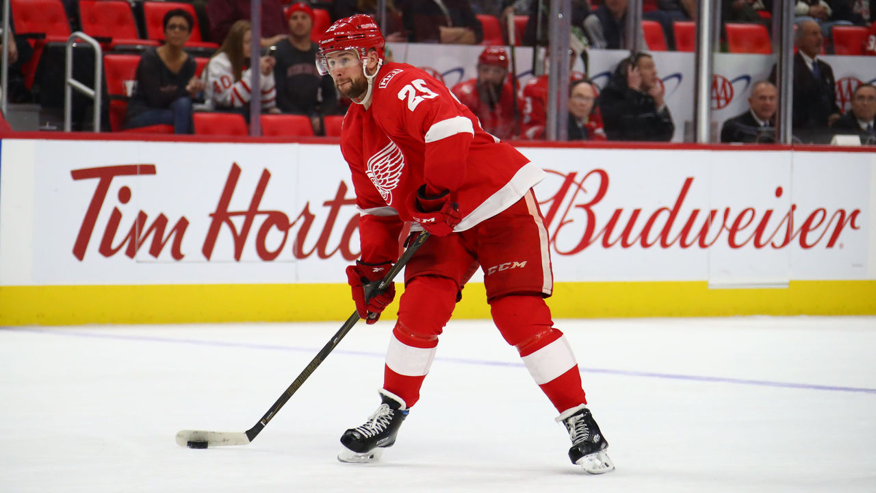 DETROIT, MI - DECEMBER 11: Mike Green #25 of the Detroit Red Wings skates against the Florida Panthers at Little Caesars Arena on December 11, 2017 in Detroit, Michigan.