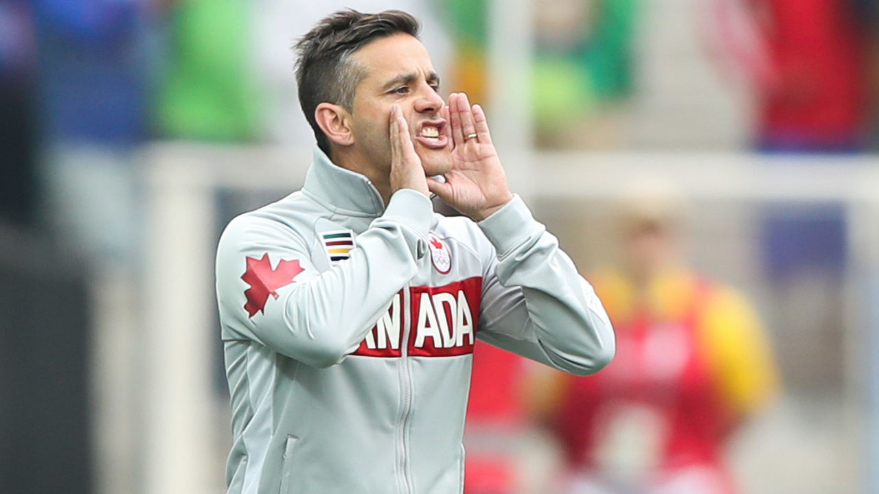 SAO PAULO, BRAZIL - AUGUST 03: John Herdman, head coach of Canada in action during the match between Canada and Australia womens football for the summer olympics at Arena Corinthians on August 3, 2016 in Sao Paulo, Brazil.