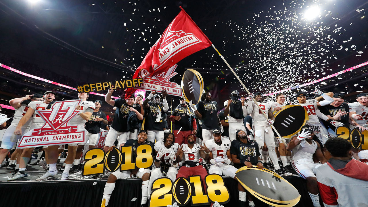 ATLANTA, GA - JANUARY 08: The Alabama Crimson Tide celebrates beating the Georgia Bulldogs in overtime and winning the CFP National Championship presented by AT&T at Mercedes-Benz Stadium on January 8, 2018 in Atlanta, Georgia. Alabama won 26-23.