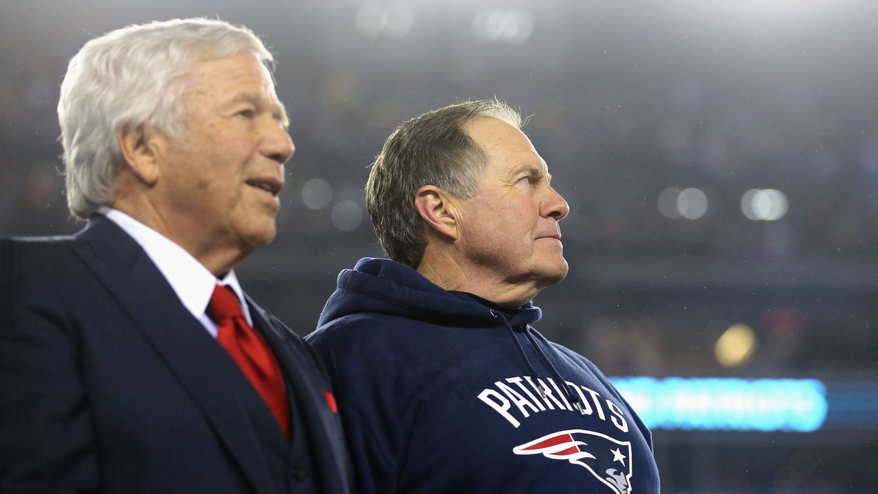 FOXBORO, MA - JANUARY 22: Robert Kraft, owner and CEO of the New England Patriots (L), and head coach Bill Belichick of the New England Patriots look on after defeating the Pittsburgh Steelers 36-17 to win the AFC Championship Game at Gillette Stadium on January 22, 2017 in Foxboro, Massachusetts.