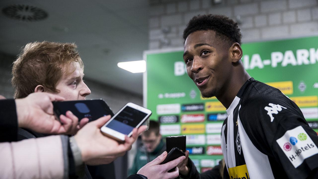 MOENCHENGLADBACH, GERMANY - DECEMBER 15: Reece Oxford of Borussia Moenchengladbach gives an interview after the Bundesliga match between Borussia Moenchengladbach and Hamburger SV at Borussia-Park on December 15, 2017 in Moenchengladbach, Germany.