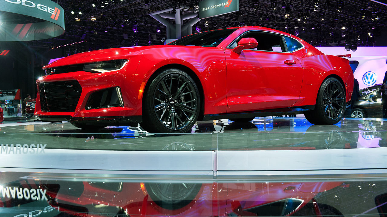 NEW YORK, NY - MARCH 24: The 2017 Chevrolet Camaro ZL1 is displayed at the New York International Auto Show at the Javits Center on March 24, 2016 in New York City. The car, which has a V8 engine that generates 640 horsepower, is expected at dealerships in December.