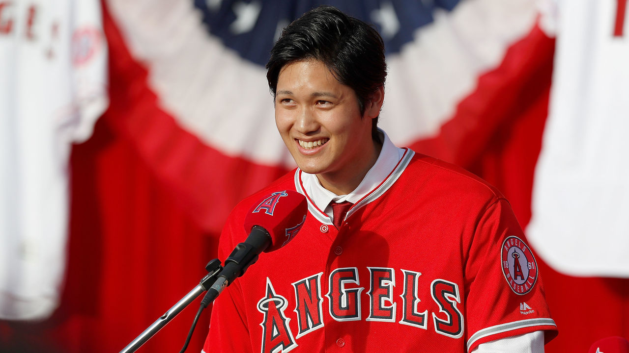 ANAHEIM, CA - DECEMBER 09: Shohei Ohtani speaks onstage as he is introduced to the Los Angeles Angels of Anaheim at Angel Stadium of Anaheim on December 9, 2017 in Anaheim, California.