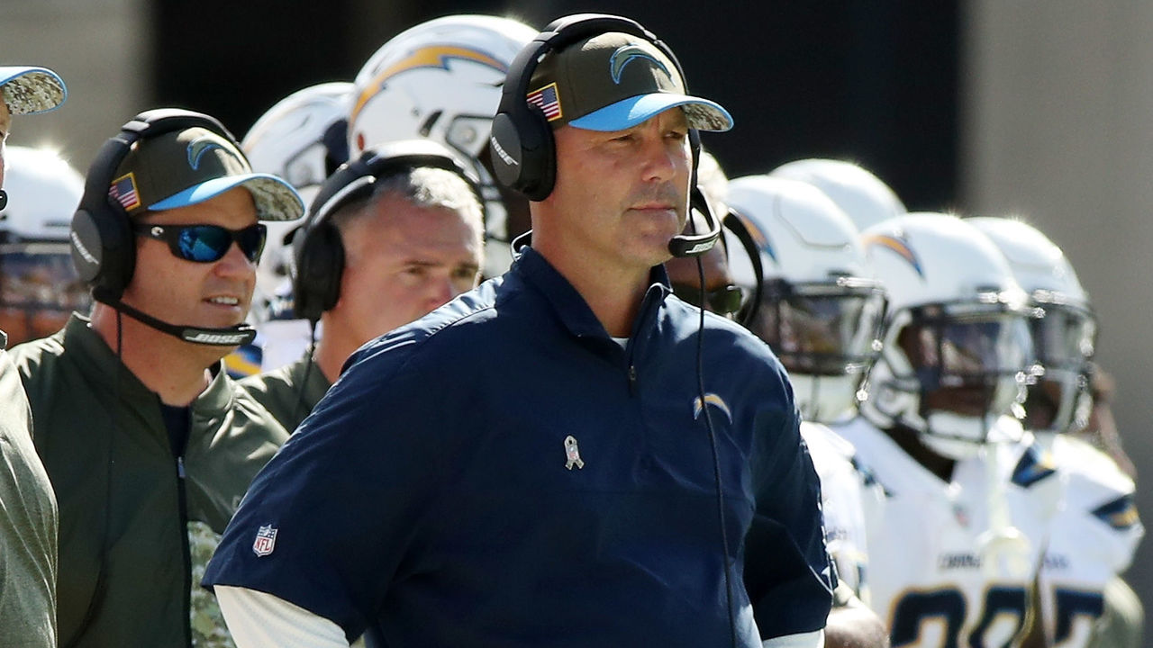 JACKSONVILLE, FL - NOVEMBER 12: Defensive coordinator for the Los Angeles Chargers Gus Bradley watches the play on the field during the first half of their game against the Jacksonville Jaguars at EverBank Field on November 12, 2017 in Jacksonville, Florida.