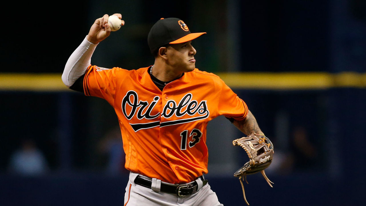ST. PETERSBURG, FL - SEPTEMBER 30: Third baseman Manny Machado #13 of the Baltimore Orioles fields the ground out by Wilson Ramos of the Tampa Bay Rays to end the first inning of a game on September 30, 2017 at Tropicana Field in St. Petersburg, Florida.
