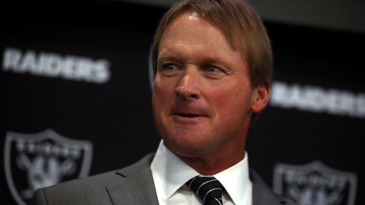 ALAMEDA, CA - JANUARY 09: Oakland Raiders new head coach Jon Gruden looks on during a news conference at Oakland Raiders headquarters on January 9, 2018 in Alameda, California. Jon Gruden has returned to the Oakland Raiders after leaving the team in 2001.