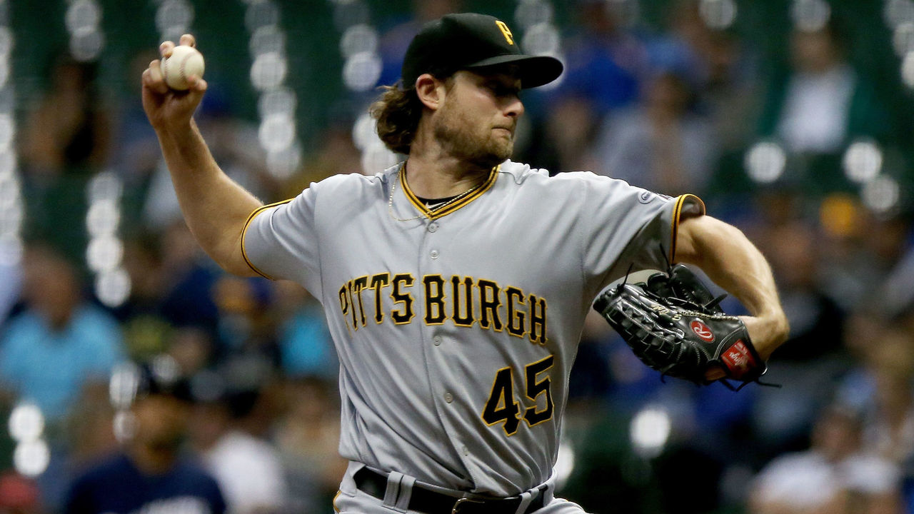 MILWAUKEE, WI - SEPTEMBER 12: Gerrit Cole #45 of the Pittsburgh Pirates pitches in the third inning against the Milwaukee Brewers at Miller Park on September 12, 2017 in Milwaukee, Wisconsin.