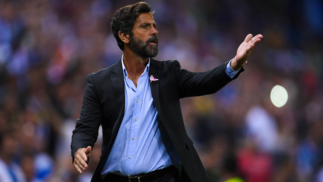 BARCELONA, SPAIN - OCTOBER 13: Head coach Quique Sanchez Flores of RCD Espanyol argues with the assistant referee after Gerard Moreno of RCD Espanyol (not in picture) scored a disallowed goal during the La Liga match between Espanyol and Levante at Cornella-El Prat stadium on October 13, 2017 in Barcelona, Spain.